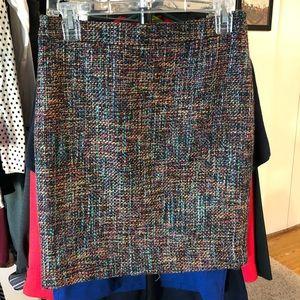 Loft // Rainbow Tweed Mini Skirt